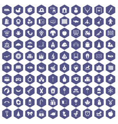 100 nursery school icons hexagon purple vector