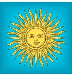 Sun with face engraving style vector
