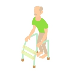 Old man with walking frame icon cartoon style vector