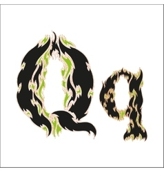 Fiery font black and green letter q on white vector