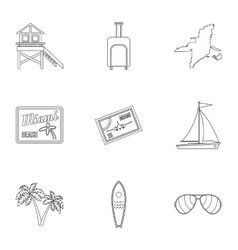 Tourism in miami icons set outline style vector