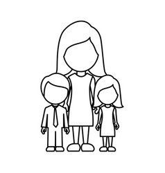silhouette woman her children icon vector image