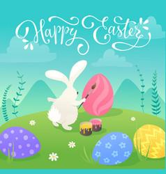 Easter bunnies greeting card vector