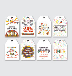 price sale tags set for the mexican holiday cinco vector image