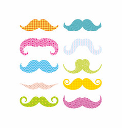 Color mustaches vector