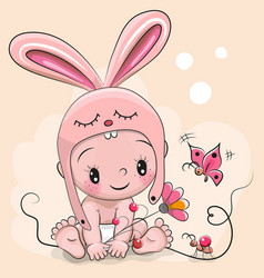cute cartoon baby in a rabbit hat vector image