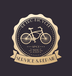 retro bicycle service and repair vintage logo vector image