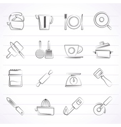 Kitchen gadgets and equipment icons vector