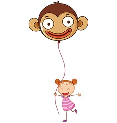 A young girl holding a monkey balloon vector image