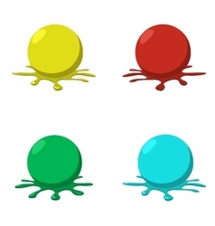 4 paintball balls with splashes vector