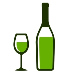 Bottle and glass with white wine vector