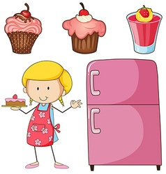 Girl baking cake and other desserts vector