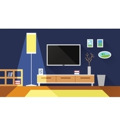Living room interior flat vector
