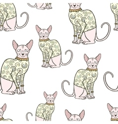 Seamless pattern with sphinx cat in sweater vector