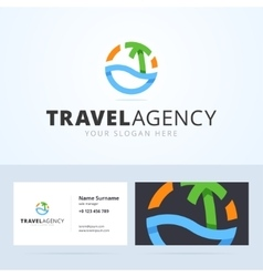 Logo and business card template for travel agency vector image