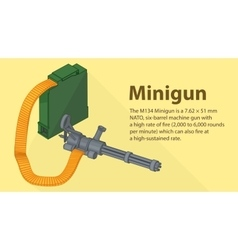 Gatling minigun isometric flat vector