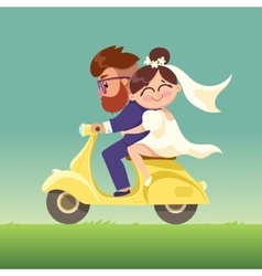 The newlyweds go on a moped vector