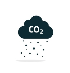 Co2 emissions cloud icon black carbon vector