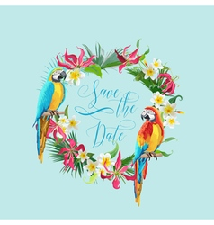 Save the date tropical flowers and birds card vector