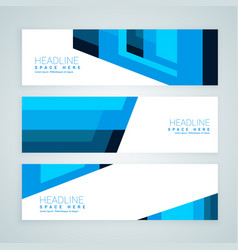 Abstract blue geometrical banners vector