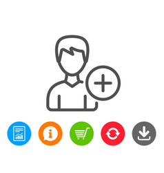 Add user line icon profile avatar sign vector