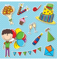 boy with color balloons and birhday elements vector image