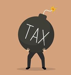 Businessman bearing tax bomb vector