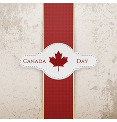 Canada day national badge with red ribbon vector