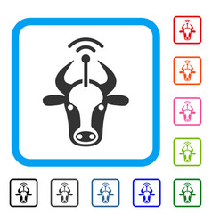 Cow radio transmitter framed icon vector