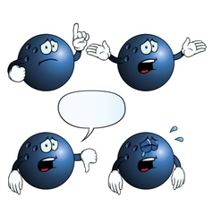 Crying bowling ball set vector
