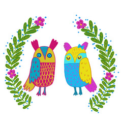 cute owl in flowers framecute hand drawn animal vector image vector image