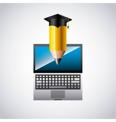 education online infographic with laptop vector image