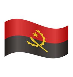 flag of angola waving on white background vector image