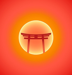 flat abstract japan gate blazing sunset sun icon vector image vector image