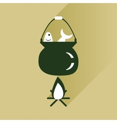 Flat icon with long shadow fish soup fire vector