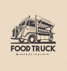 food truck restaurant delivery service logo vector image
