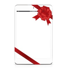 gift tablet white vector image vector image