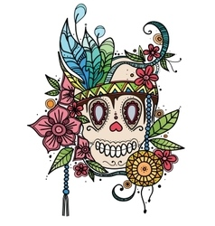 Hand drawn color skull in flowers and vector