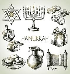 Hand drawn sketch hanukkah elements set israel vector