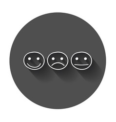 Hand drawn smiley icon emotion face in flat style vector