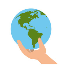 hand with earth world vector image vector image