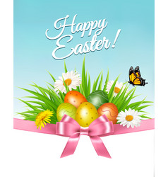 Happy easter background colorful eggs and daisy vector