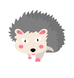 Hedgehog animal isolated on white flat vector