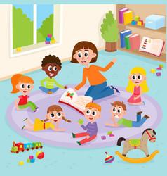 Kindergarten kids in classroom and teacher reading vector