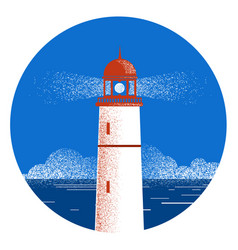 lighthouse seascape logo vector image