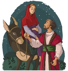 mary and joseph travelling by donkey to bethlehem vector image vector image