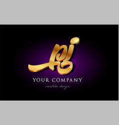Pj p j 3d gold golden alphabet letter metal logo vector