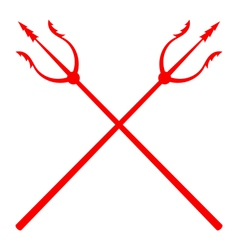 Red tridents on a white background vector image