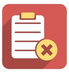 Reject form flat rounded square icon with long vector