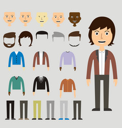 set of dress up constructor with different men in vector image vector image